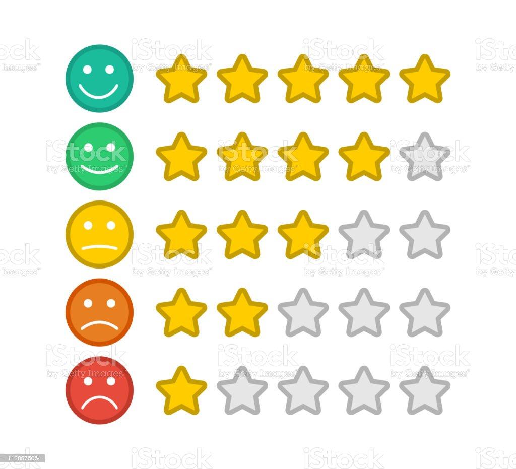 emoji mit sternen ausgezeichnet feedbackemoticon anzahl der sterne verbraucher bewerten stock vektor art und mehr bilder von bartresen istock