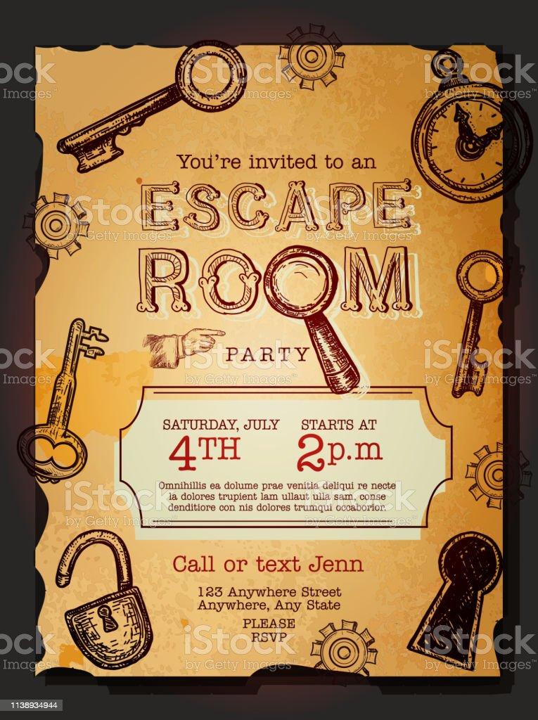 https www istockphoto com de vektor escape room birthday party feier einladung design vorlage gm1138934944 304260598