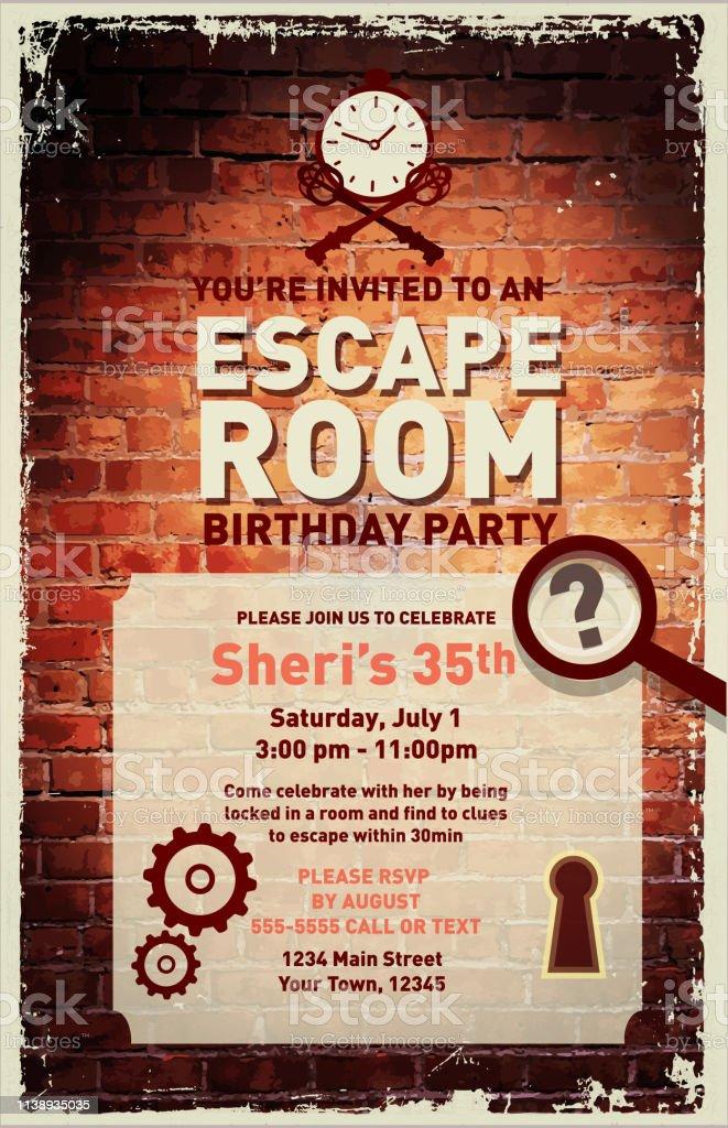 escape room birthday party feier einladung designvorlage stock vektor art und mehr bilder von altertumlich istock