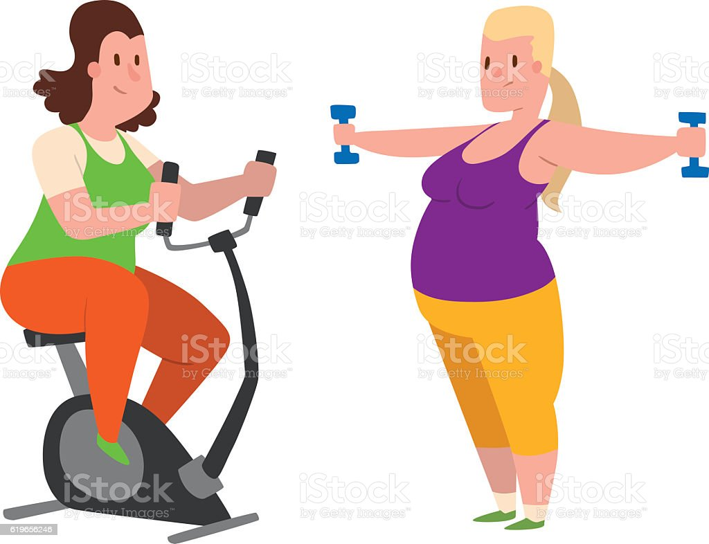 Fat People Fitness Gym Vector Stock Vector Art & More