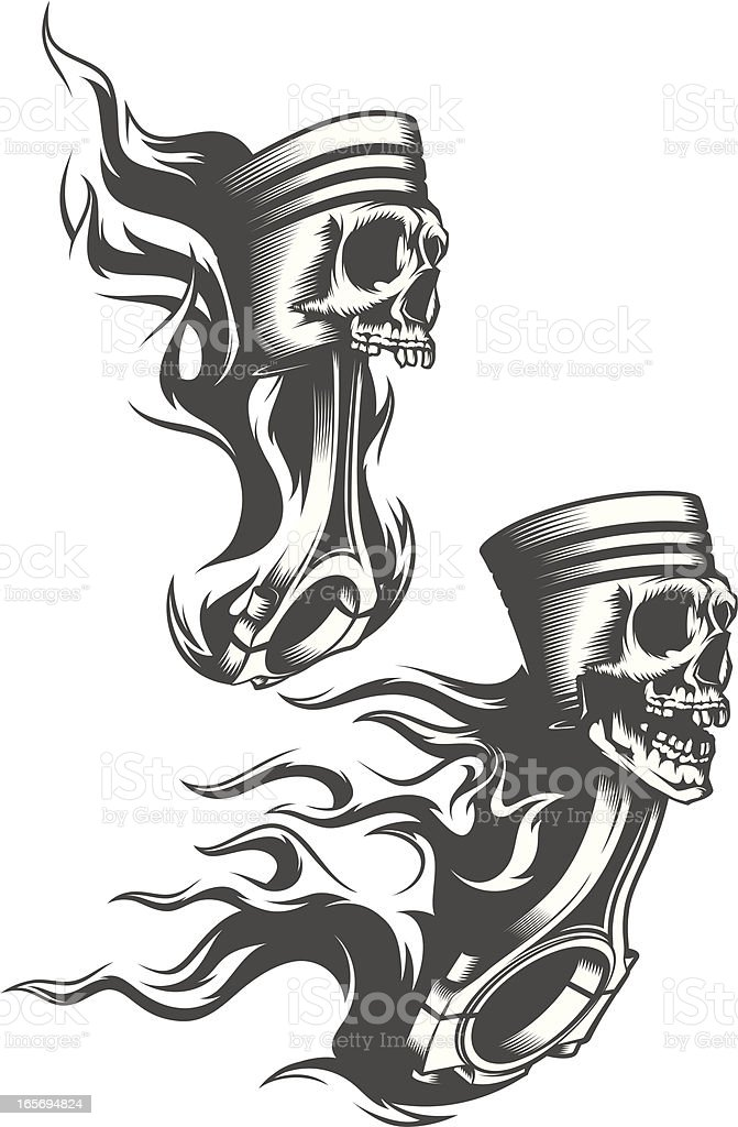 Flaming Pistons Stock Vector Art Amp More Images Of Burning