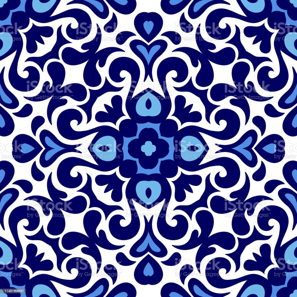 floral ornament blue and white ceramic tile pattern seamless vector porcelain background design damask style stock illustration download image now istock