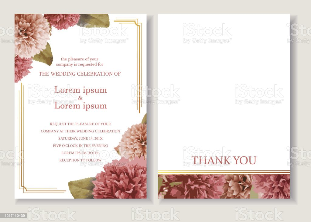 floral wedding invitation card template set with flowers frame decoration pink pompom illustration for background save the date greeting poster cover vectorillustration stock illustration download image now istock