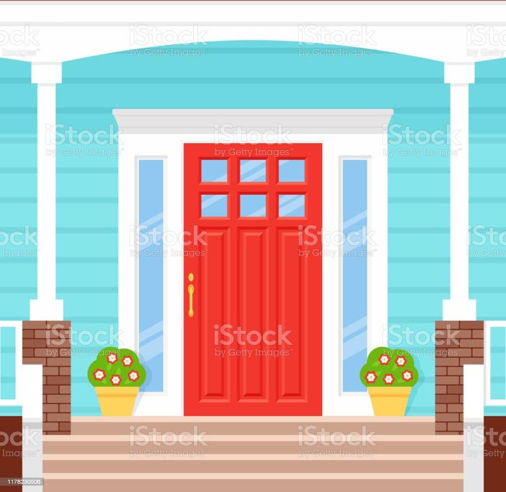 Front Door Porch House Vector Illustration Facade In Flat Design | Front Door Stairs Design | Main Door Stair | 2Nd Floor | Villa | Brick | Residential