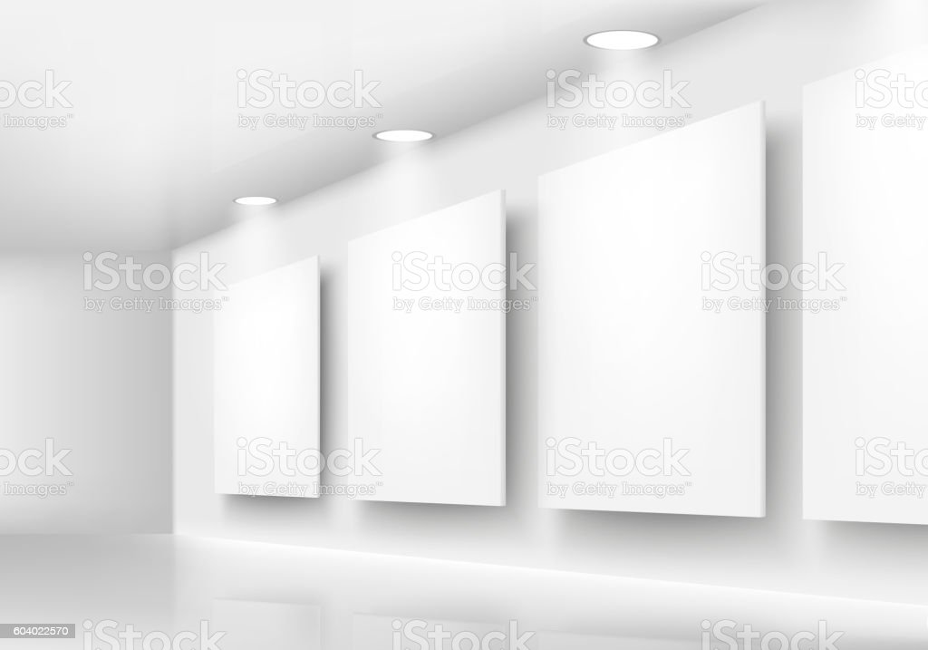 gallery of empty frames on wall with lighting stock illustration download image now istock