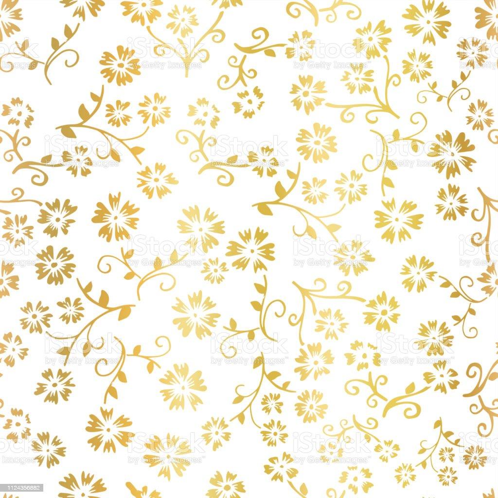 gold foil flower vector seamless pattern background elegant golden florals on white backdrop elegant design for digital web paper gift wrap party birthday card wedding celebration invitation stock illustration download image