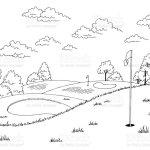 Golfplatz Grafik Kunst Schwarz Weiss Landschaft Skizze Illustration Vektor Stock Vektor Art Und Mehr Bilder Von Anhohe Istock
