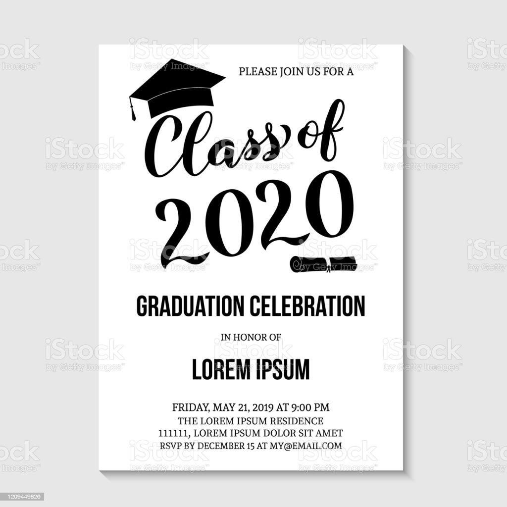 modele de carte dinvitation de partie de graduation la fete des diplomes en noir et blanc invite annonce de celebration de graduation classe de lillustration de vecteur 2020 vecteurs libres de droits