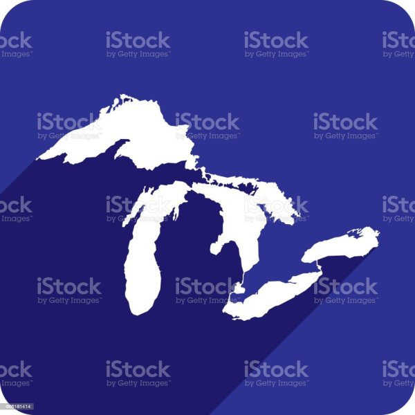vector illustration great lakes silhouettes stock clip - HD 1024×1024