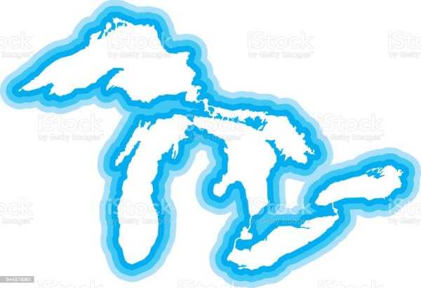 Great Lakes Outline Blue Stock Vector Art & More Images of ...