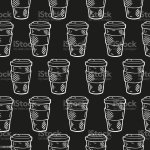 Hand Drawn Seamless Pattern With Coffee Takeaway Cup White Outline On Black Background Or Chalkboard Cute Template For Coffee Shop Cafe Menu Design Fabric Wrapping Paper Vector Illustration Stock Illustration Download
