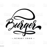 Vetores De Hand Lettering Burger Food Logo Design E Mais Imagens De Cheesburguer Istock