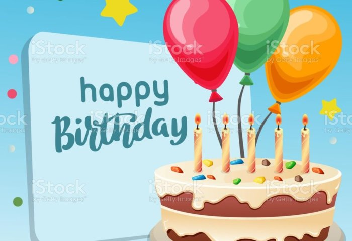 Happy Birthday Blue Background With Big Cake Stock Vector Art More
