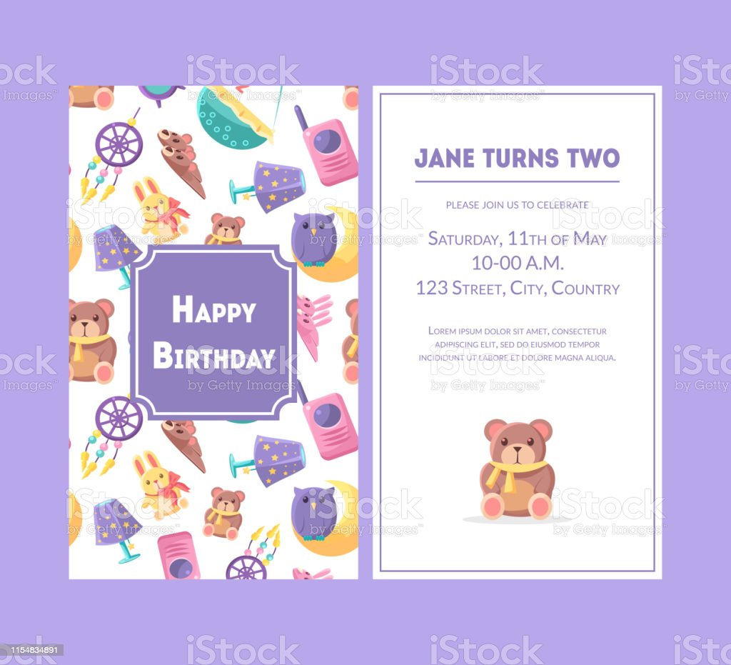 happy birthday greeting card violet party invitation template for baby girl birthday celebration vector illustration stock illustration download image now istock