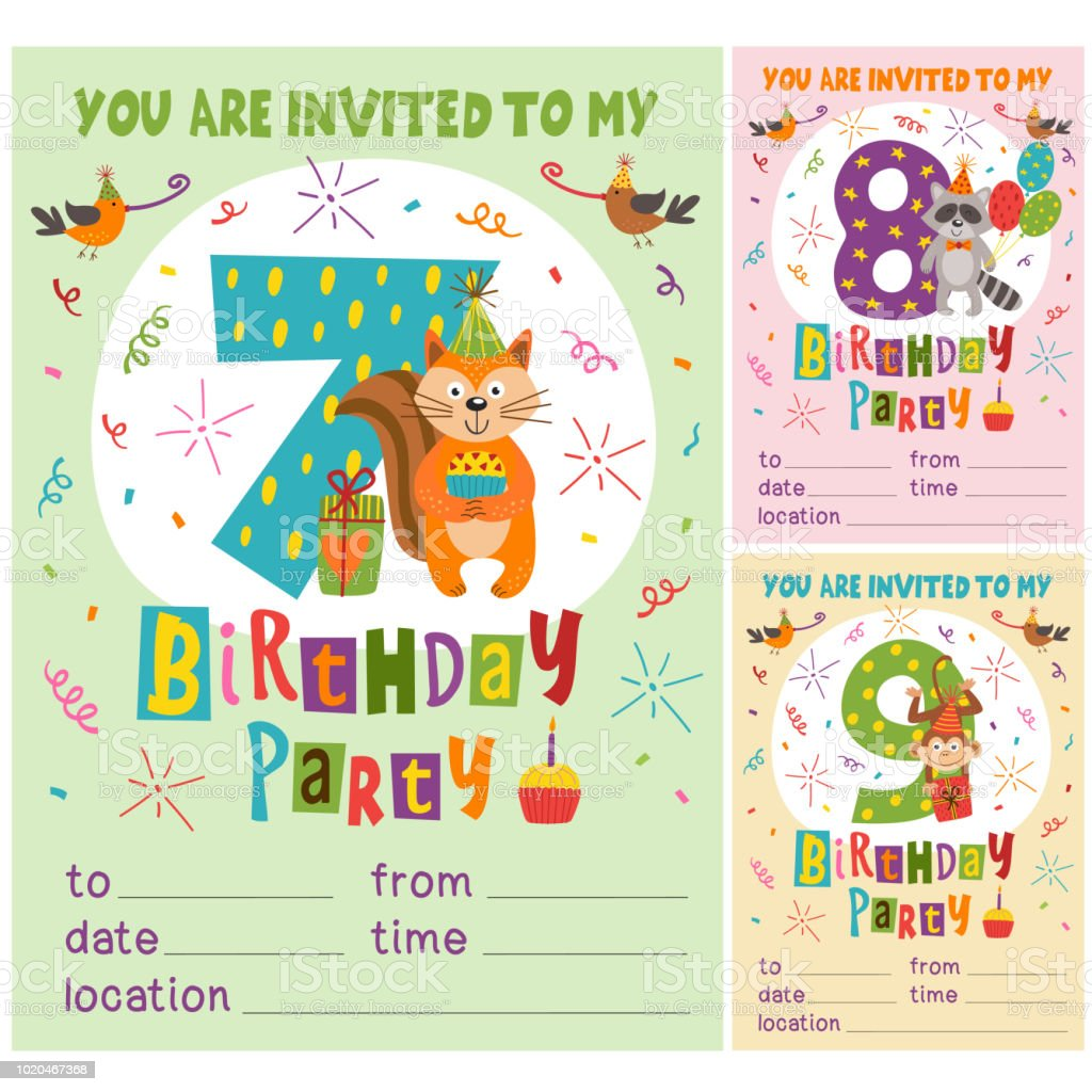 happy birthday invitation card template with funny animals from 7 to 9 stock illustration download image now istock