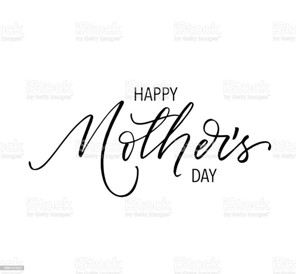 Drawing Of A Happy Mothers Day Signs Clip Art, Vector ...
