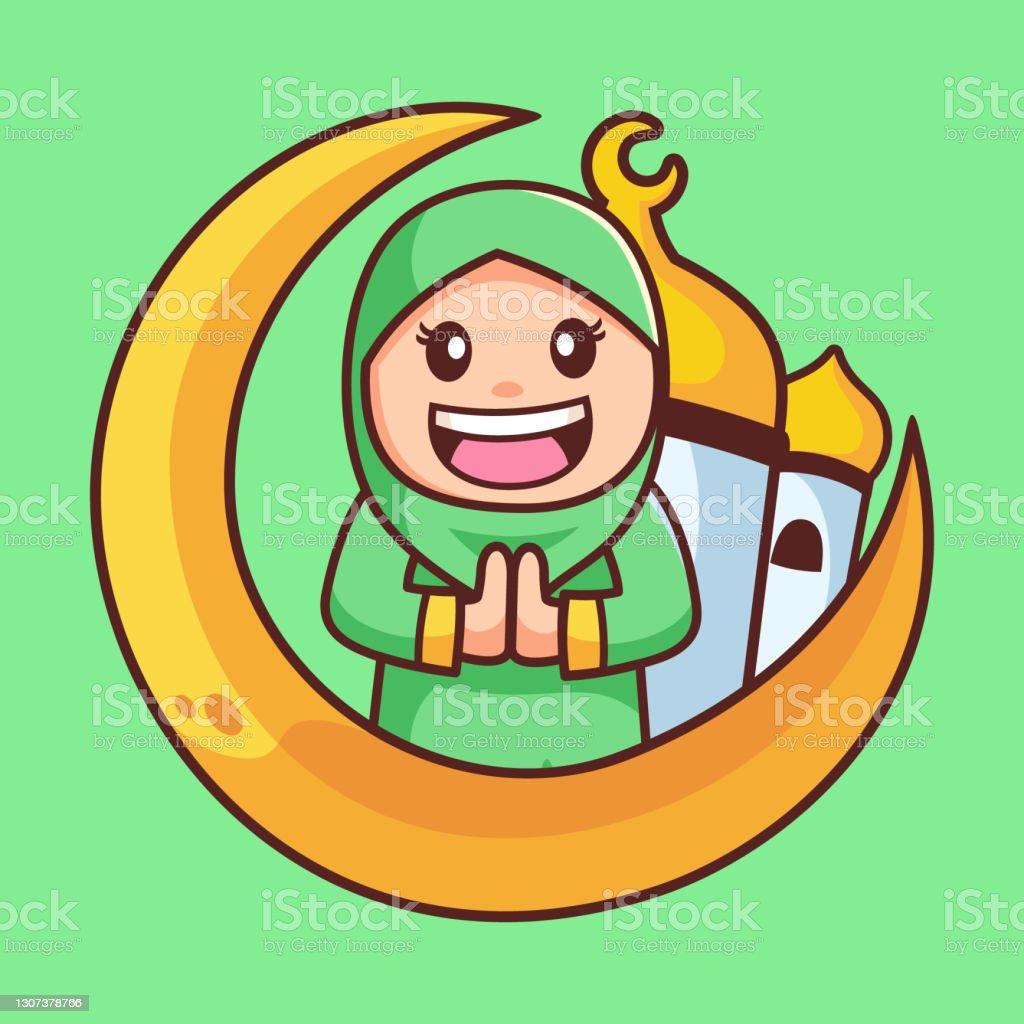 """""""queen on luna"""", questo il suo nome su instagram, non toglie mai il velo islamico, ma lo trasforma,. Illustration Of Young Muslim Girl Praying In Traditional Clothes Clipart Image"""