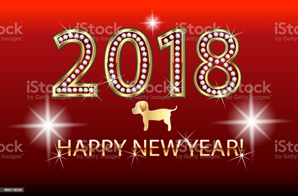 Happy New Year 2018 With Gold Chinese Dog Image Template Stock     Happy new year 2018 with gold Chinese dog image template royalty free happy new  year