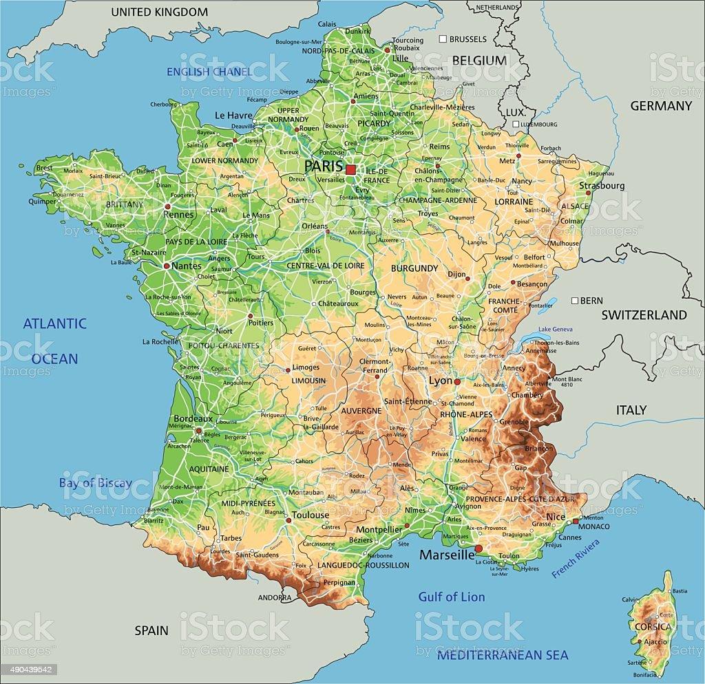 Türkiye'nin paris büyükelçisi i̇smail hakkı musa, fransız provokasyonunu haritayla anlattı. Hoch Detaillierte Frankreich Geplante Karte Stock Vektor