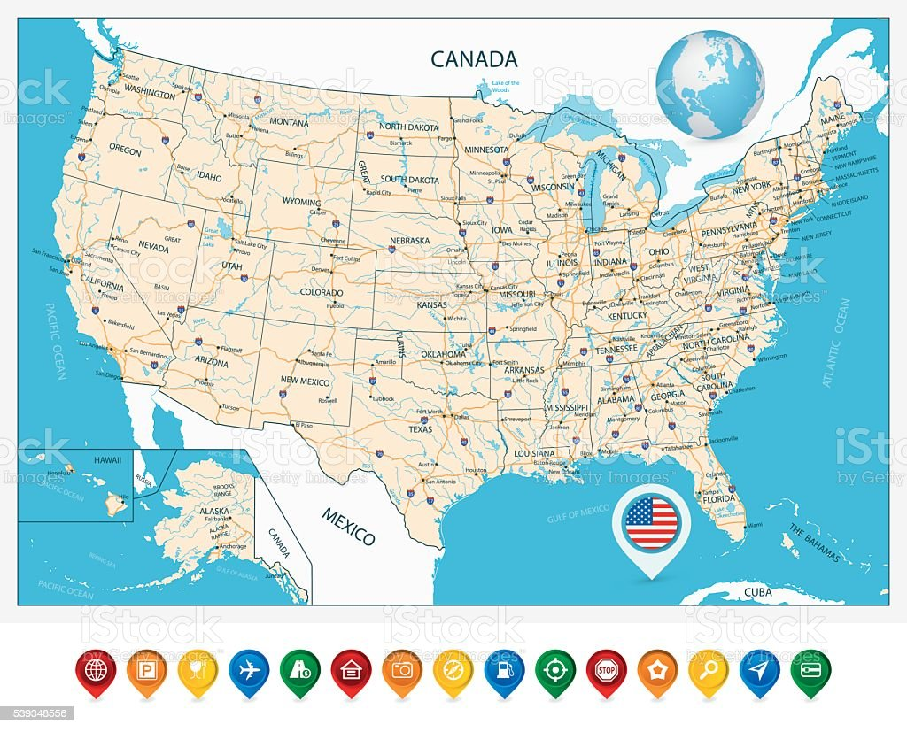 This helps the person reading the map understand where to find certain items. Highly Detailed Road Map Of United States Stock Illustration Download Image Now Istock