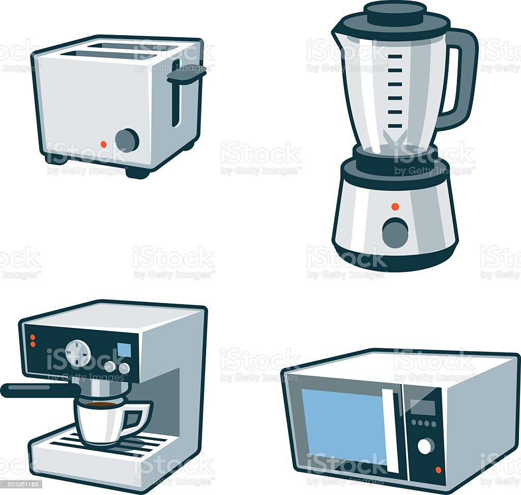 https www istockphoto com vector home appliances 3 toaster blender coffee maker microwave oven gm501061185 43207522