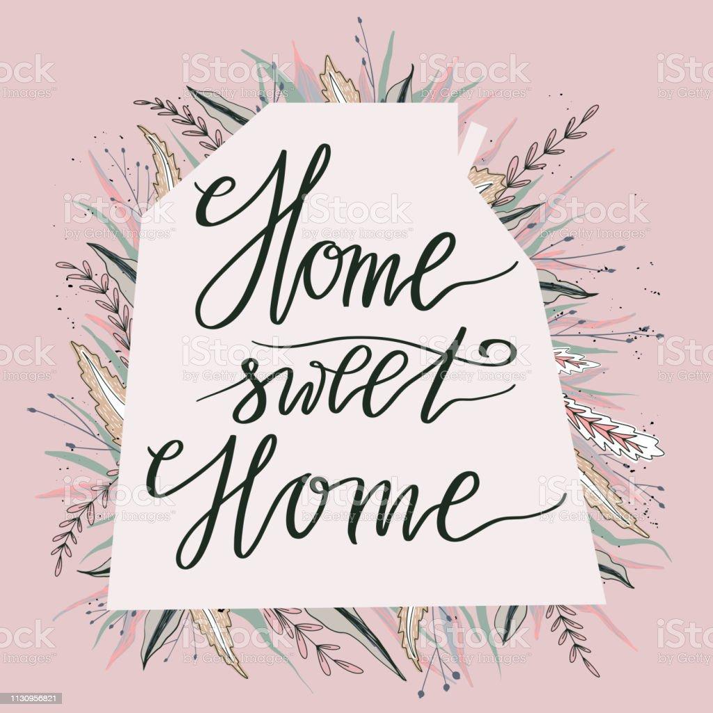 affiche de typographie home sweet home utiliser pour les affiches de pendaison de cremaillere cartes de voeux decorations a la maison illustration vectorielle vecteurs libres de droits et plus d images vectorielles de