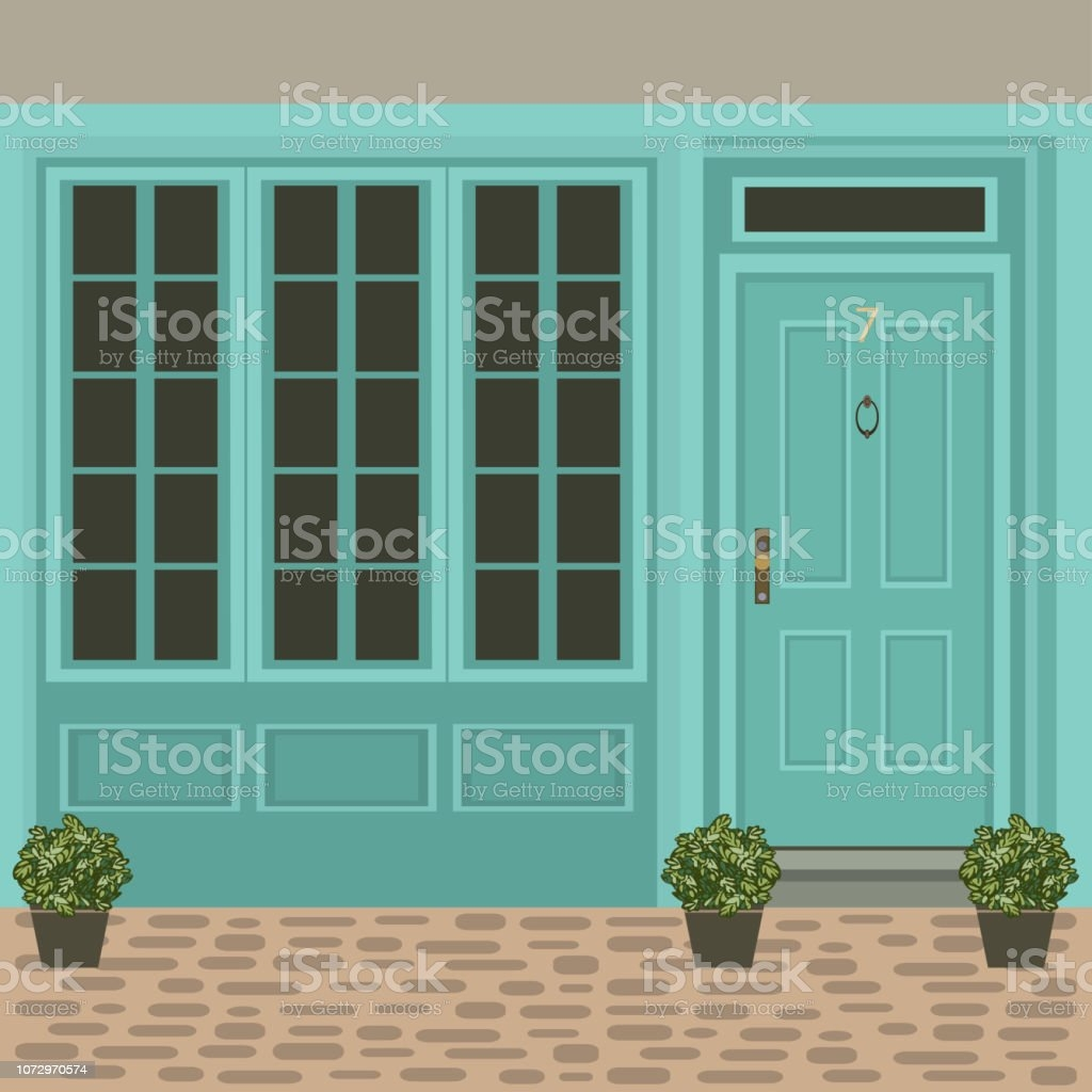 House Door Front With Window Steps And Plants Building Entry | House Main Entrance Steps Design | Half Round | Landscape | Outside | Garden | Front Construction Area House