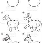 How To Draw Horse Easy Drawing Horse For Children Stock Illustration Download Image Now Istock