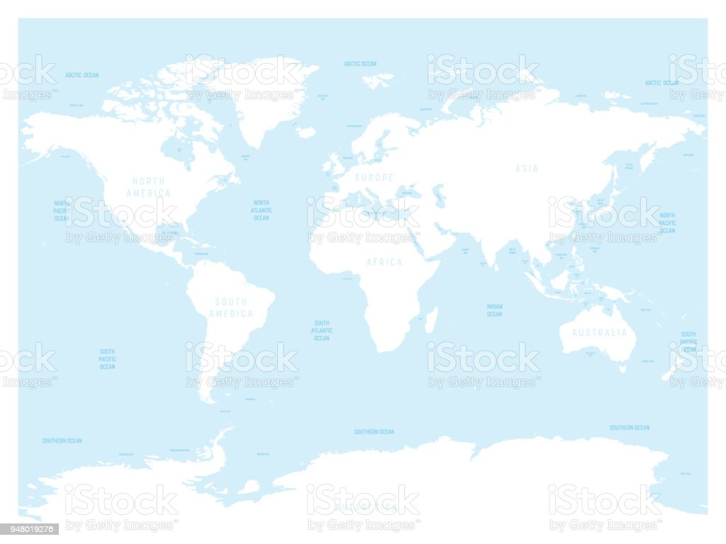 World Map Continents And Oceans Seas New The Pacific Ocean Is R