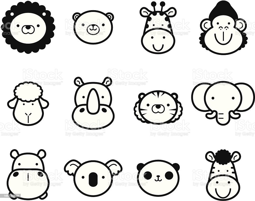 Icon Set Cute Zoo Animals In Black And White Stock Vector