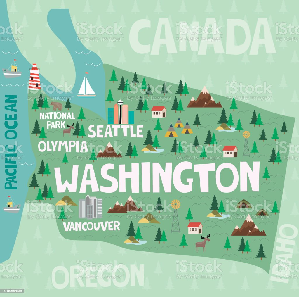 Illustrated Map Of The State Of Washington In United States With     Illustrated map of the state of Washington in United States with cities and  landmarks royalty