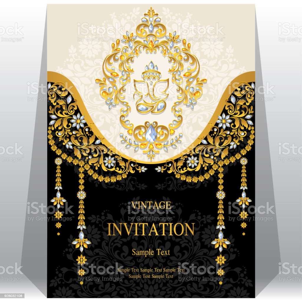 indian wedding invitation card templates with ganesha gold patterned and crystals on paper color background stock illustration download image now istock