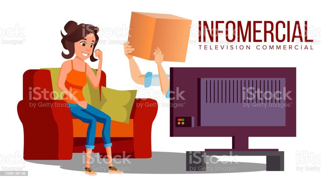 https www istockphoto com de vektor infomercial shop auf dem sofa frau sitzt auf dem sofa vor dem tv und lieferung gm1058738106 282967230