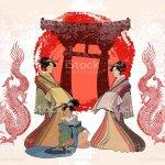 Japan Kunst Geisha Und Drache Asiatische Kultur Traditionelle Japanische Rote Sonne Drachen Und Geisha Frau Stock Vektor Art Und Mehr Bilder Von Architektur Istock