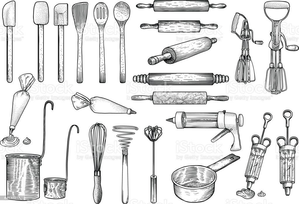 cuisine illustration des outils ustensile vecteur dessin gravure cuisinier cuisine patisserie vecteurs libres de droits et plus d images vectorielles de acier istock