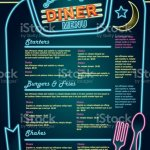 Late Night Retro 50s Diner Neon Menu Layout Stock Illustration Download Image Now Istock