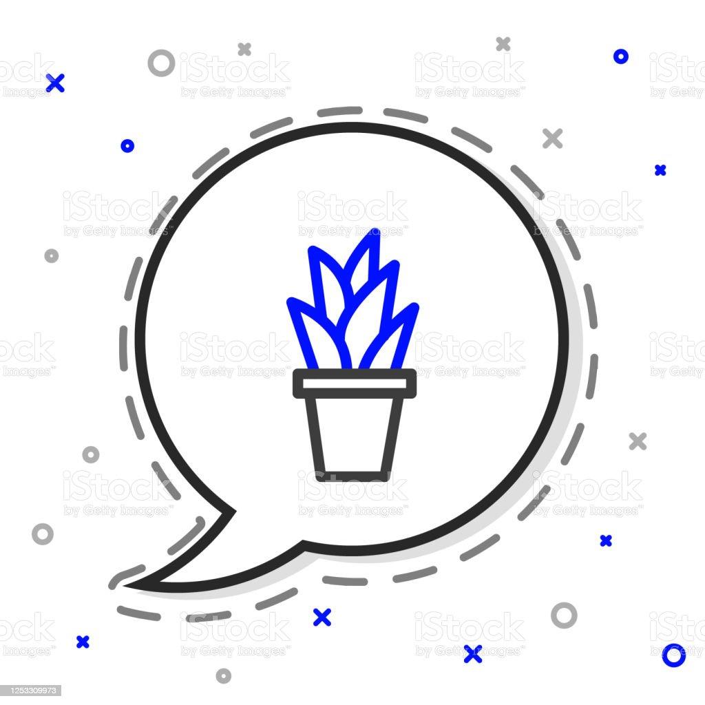 https www istockphoto com fr vectoriel plante de ligne dans lic c3 b4ne de pot isol c3 a9e sur le fond blanc plante qui pousse gm1253309973 365979045