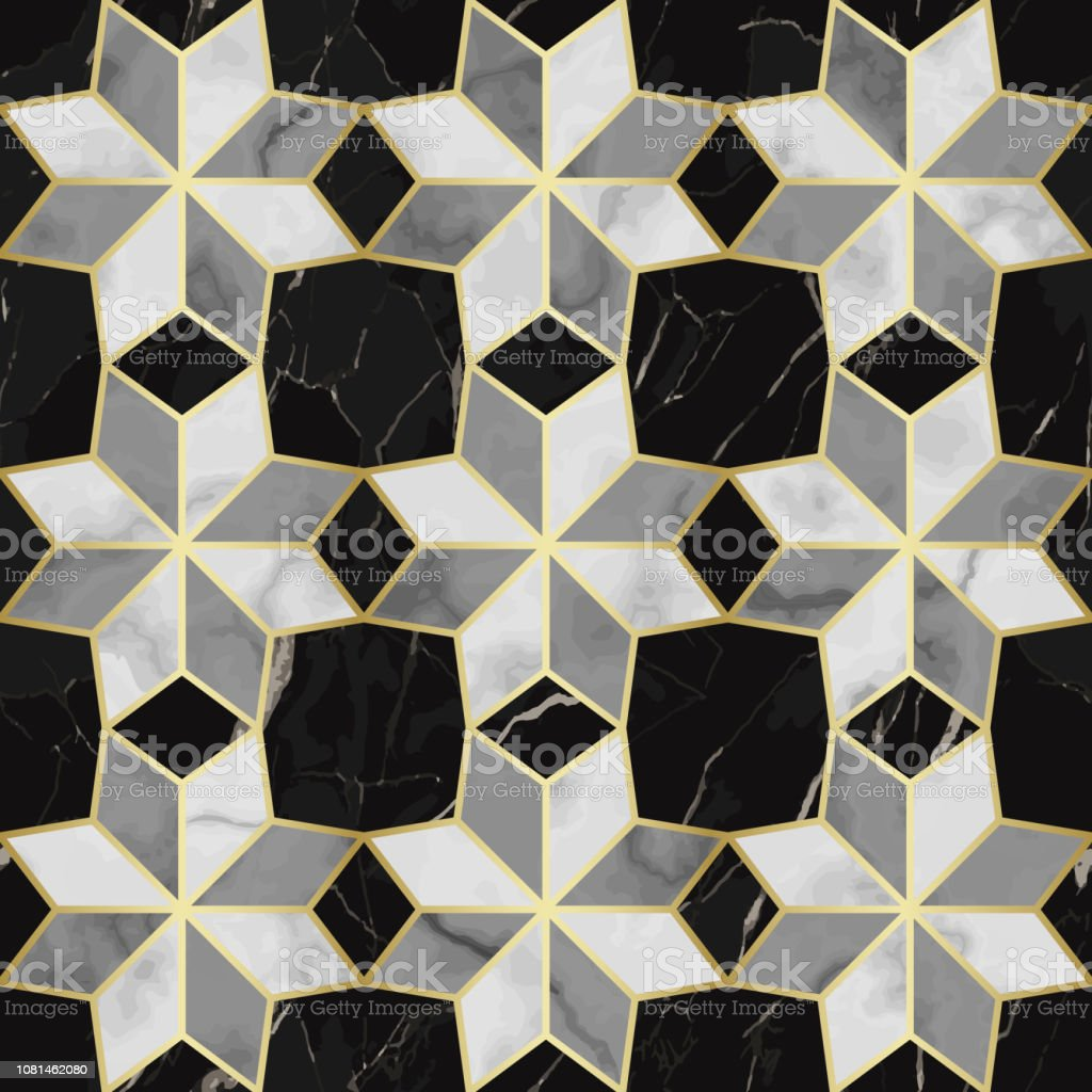 luxury marble mosaic star tile seamless pattern stock illustration download image now istock