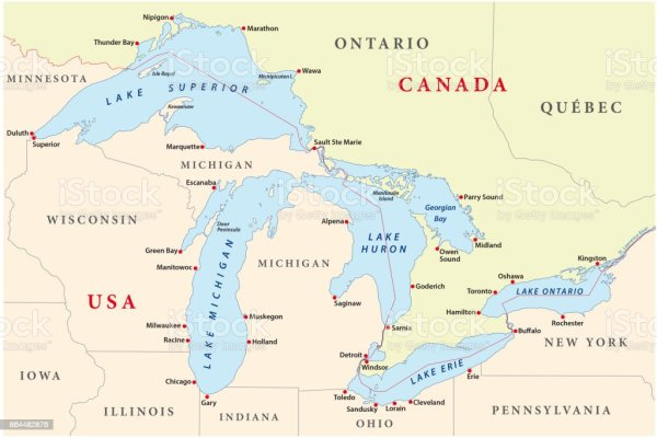 Map Of Great Lakes Stock Vector Art & More Images of ...