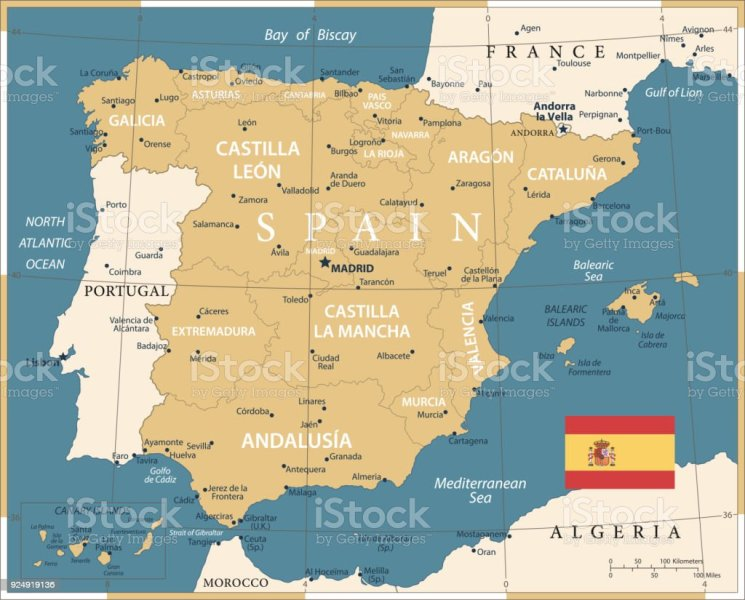Map Of Spain Vintage Vector Stock Vector Art   More Images of     Map of Spain   Vintage Vector royalty free map of spain vintage vector  stock vector