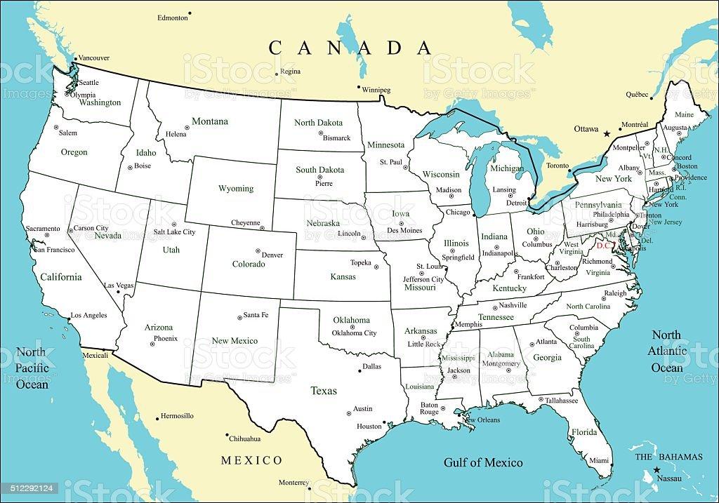 Ilustracion De Usa Map With States And Major Cities And Capitals Y Mas Vectores Libres De Derechos De America Del Norte Istock
