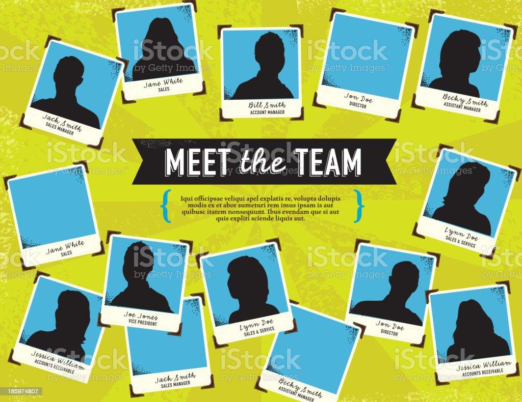 Meet The Team Portrait Concept Template Stock Illustration