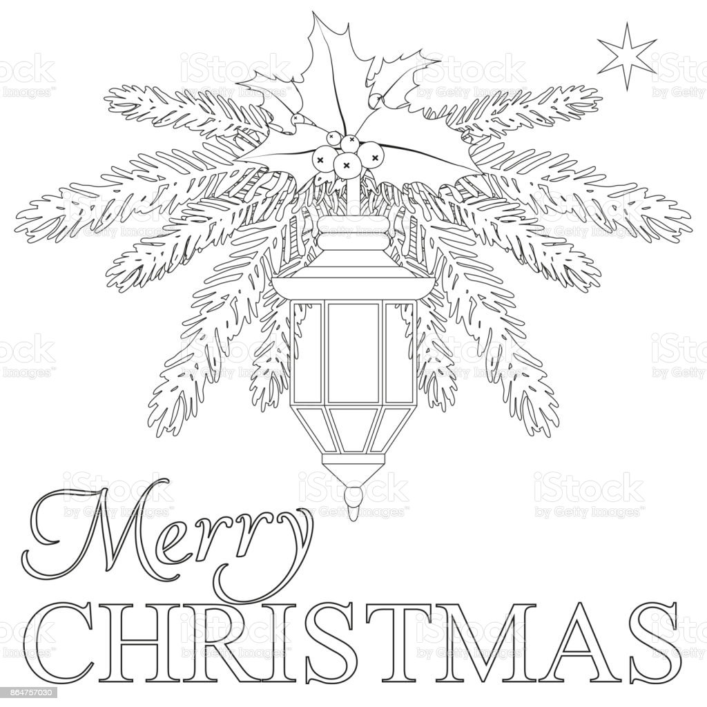 Merry Christmas Coloring Book Page Stock Vector Art More Images