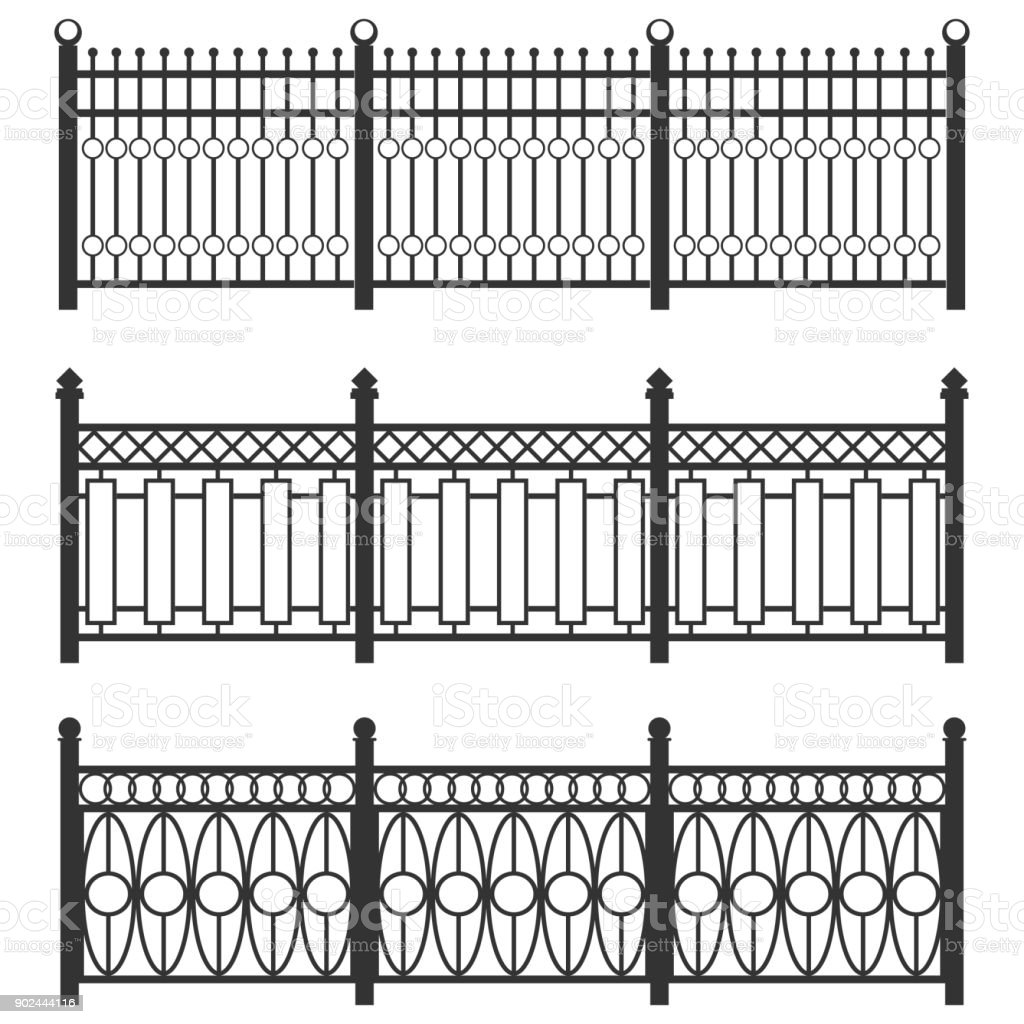Metal Fencegrid Forged Fence A Set Of Fences Made Of Black Grating Isolated Chain Linked Fences Metal Stock Illustration Download Image Now Istock