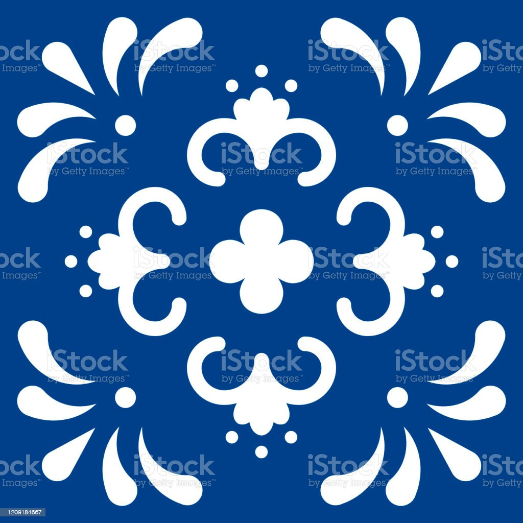 mexican talavera tile pattern ornament in traditional style from puebla in classic blue and white floral ceramic composition with flower dot and leaves folk art design from mexico stock illustration download