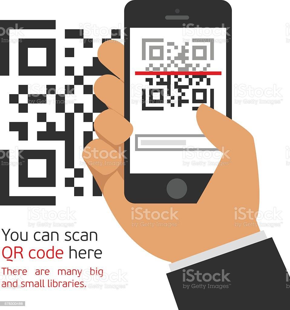Mobile Phone Reads The Qr Code — стоковая векторная ...