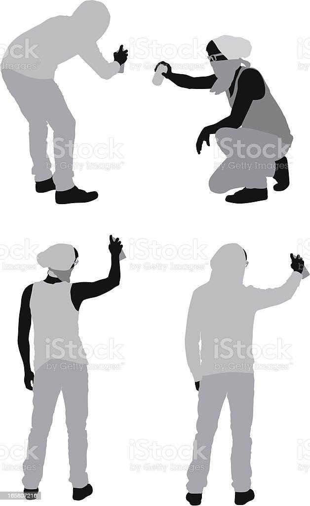 Multiple Images Of Men Doing Graffiti Stock Vector Art