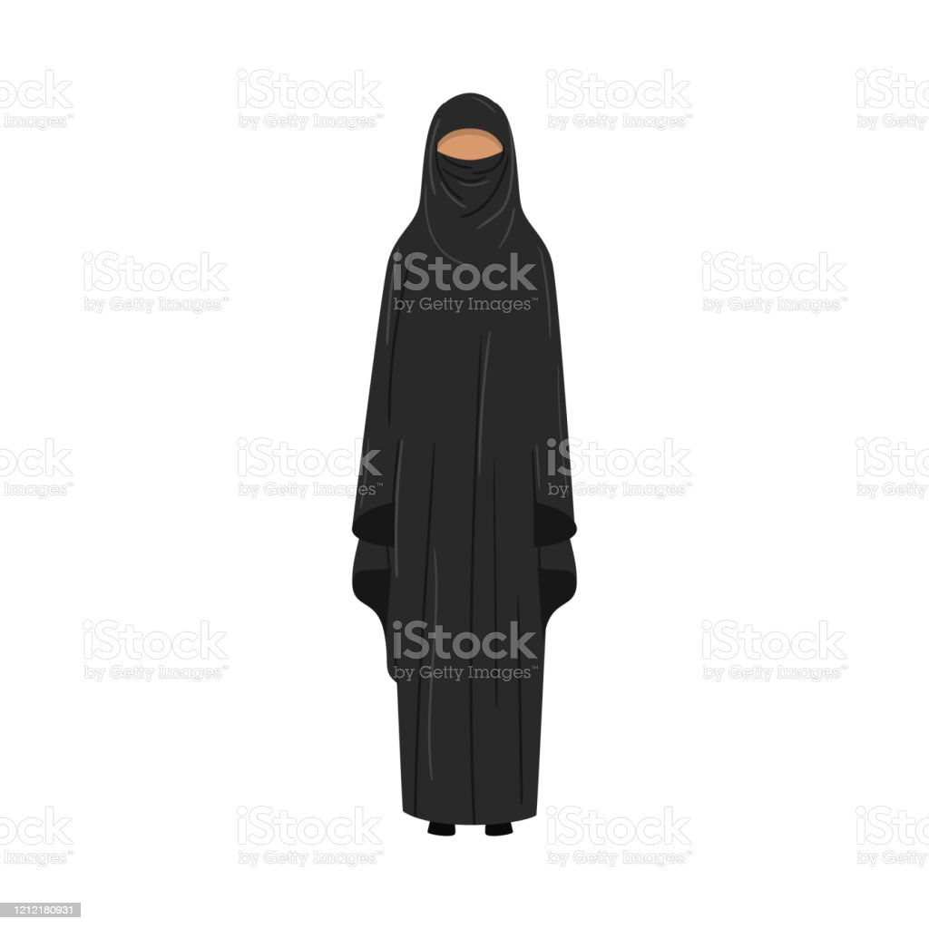 Muslim or arabian woman wearing traditional long dress with the hijab or burqa covering her body. Muslim Girl In A Traditional Ethnic Black Niqab Vector Illustration In Flat Cartoon Style Stock Illustration Download Image Now Istock