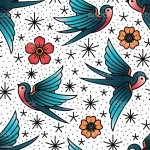 Oldschool Traditional Tattoo Vector Birds And Flowers Pattern Stock Illustration Download Image Now Istock