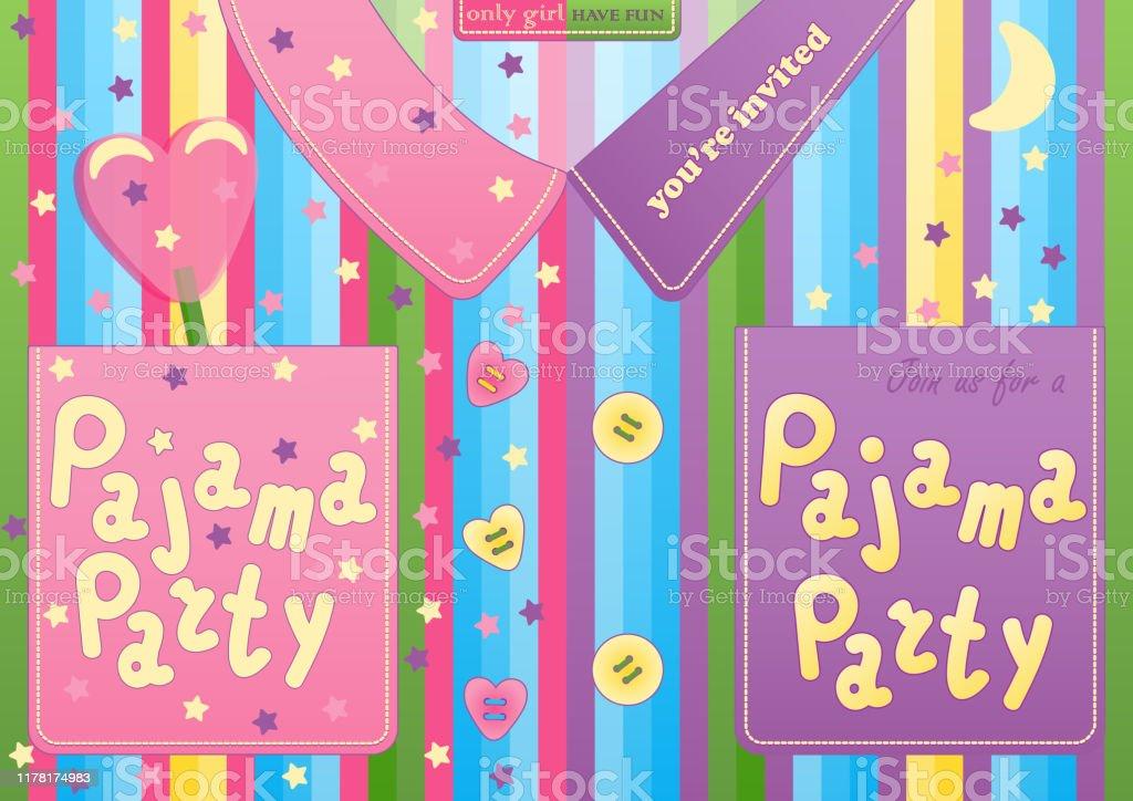 carte de soiree pyjama de soiree sous la forme de pyjamas pour garcon et fille ensemble carte dinvitation de partie de sommeil ou modele daffiche fond colore vecteurs libres de droits et